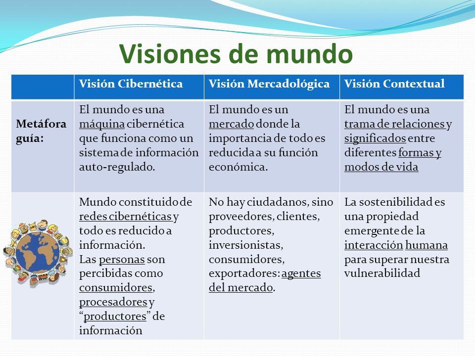 Visiones de mundo Visión CibernéticaVisión MercadológicaVisión Contextual Metáfora guía: El mundo es una máquina cibernética que funciona como un sist