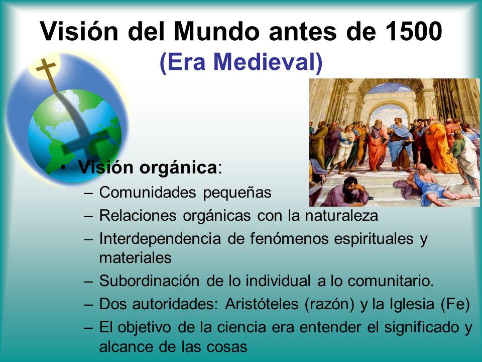 Visión del Mundo antes de 1500 (Era Medieval) Visión orgánica: –Comunidades pequeñas –Relaciones orgánicas con la naturaleza –Interdependencia de fenó