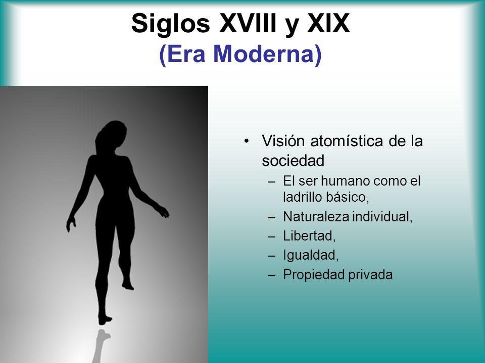 Siglos XVIII y XIX (Era Moderna) Visión atomística de la sociedad –El ser humano como el ladrillo básico, –Naturaleza individual, –Libertad, –Igualdad