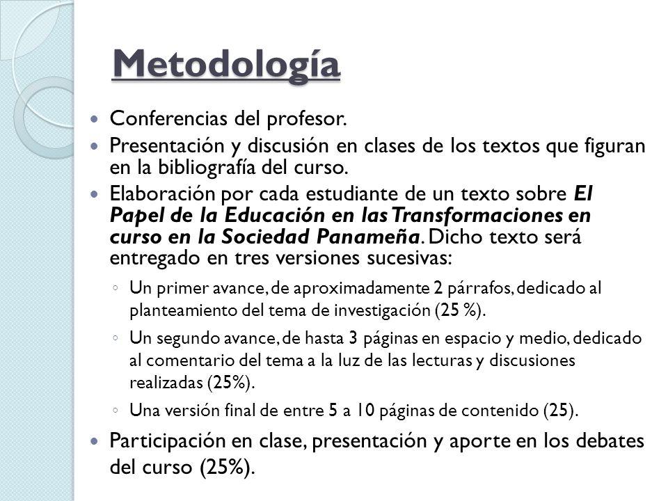 Metodología Conferencias del profesor. Presentación y discusión en clases de los textos que figuran en la bibliografía del curso. Elaboración por cada