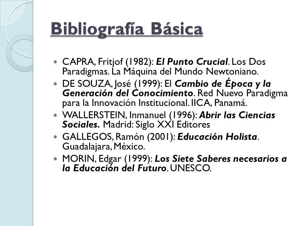 Bibliografía Básica CAPRA, Fritjof (1982): El Punto Crucial. Los Dos Paradigmas. La Máquina del Mundo Newtoniano. DE SOUZA, José (1999): El Cambio de