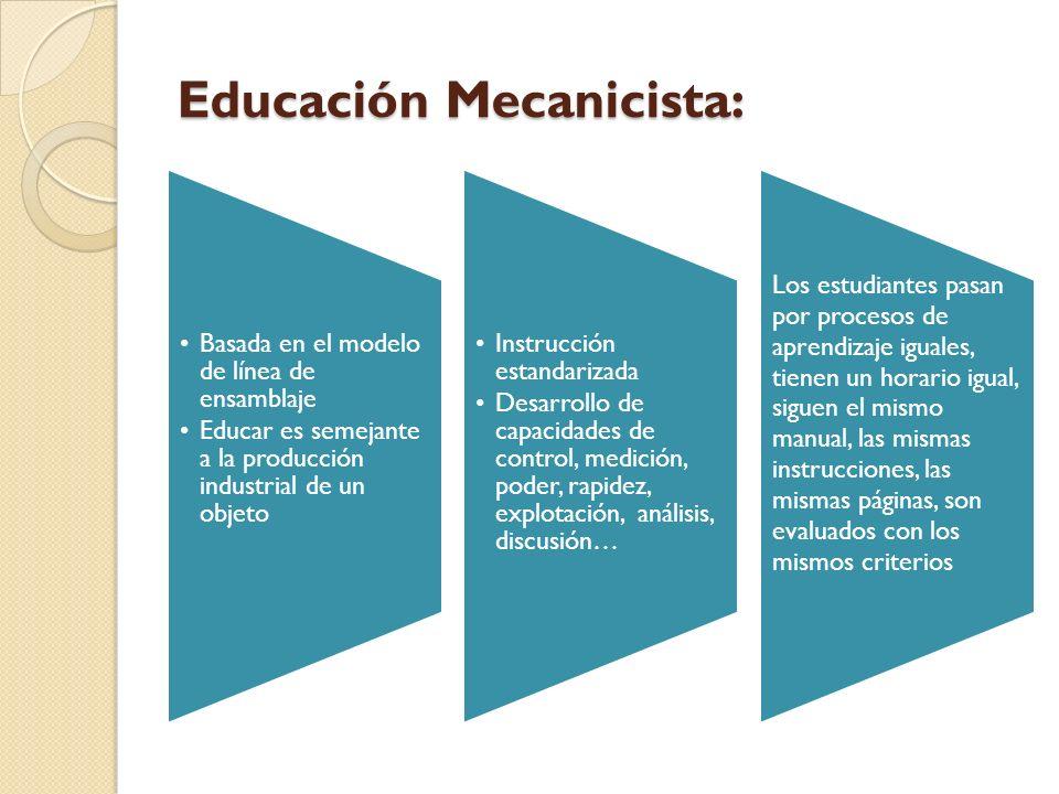 Educación Mecanicista: Basada en el modelo de línea de ensamblaje Educar es semejante a la producción industrial de un objeto Instrucción estandarizad
