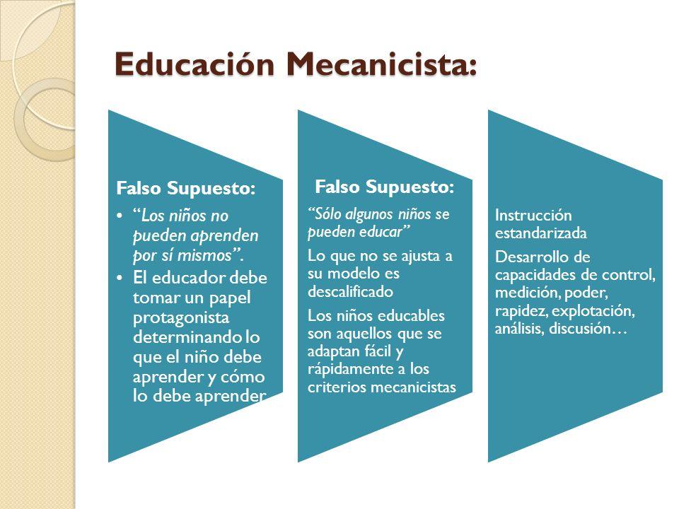 Educación Mecanicista: Falso Supuesto: Los niños no pueden aprenden por sí mismos. El educador debe tomar un papel protagonista determinando lo que el