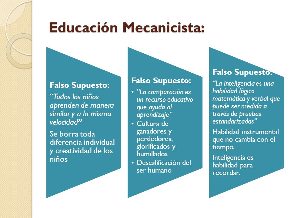 Educación Mecanicista: Falso Supuesto: Todos los niños aprenden de manera similar y a la misma velocidad Se borra toda diferencia individual y creativ