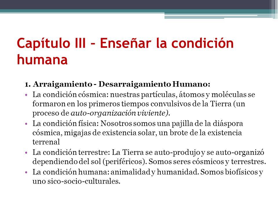 Capítulo III – Enseñar la condición humana 1. Arraigamiento - Desarraigamiento Humano: La condición cósmica: nuestras partículas, átomos y moléculas s