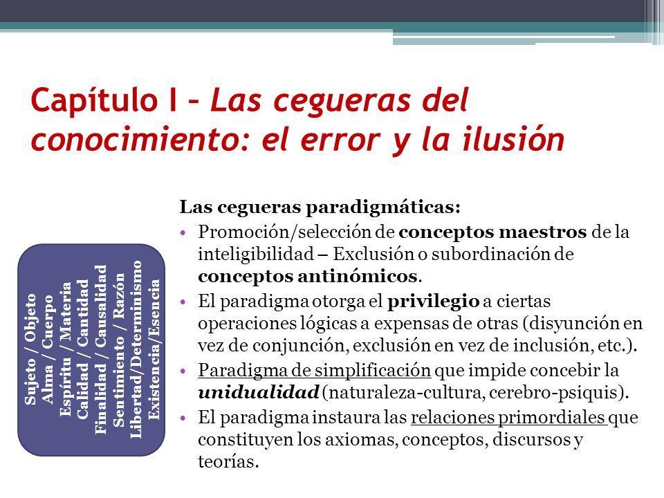 Las cegueras paradigmáticas: Promoción/selección de conceptos maestros de la inteligibilidad – Exclusión o subordinación de conceptos antinómicos. El