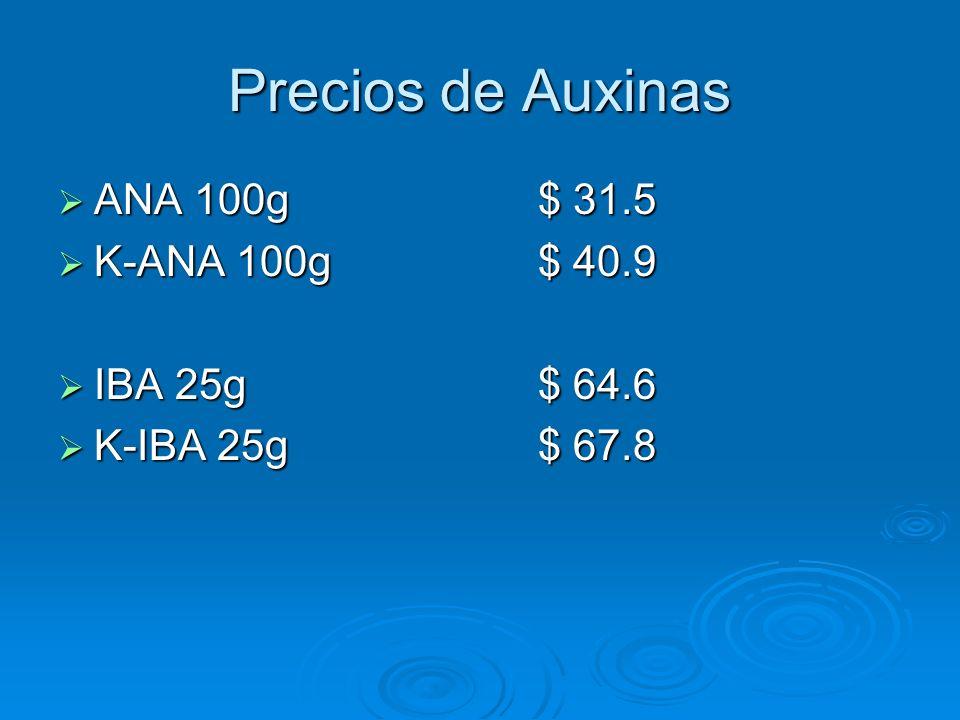 Precios de Auxinas ANA 100g$ 31.5 ANA 100g$ 31.5 K-ANA 100g$ 40.9 K-ANA 100g$ 40.9 IBA 25g$ 64.6 IBA 25g$ 64.6 K-IBA 25g$ 67.8 K-IBA 25g$ 67.8