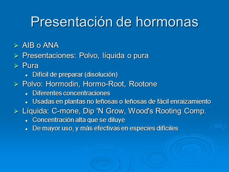 Presentación de hormonas AIB o ANA AIB o ANA Presentaciones: Polvo, líquida o pura Presentaciones: Polvo, líquida o pura Pura Pura Difícil de preparar