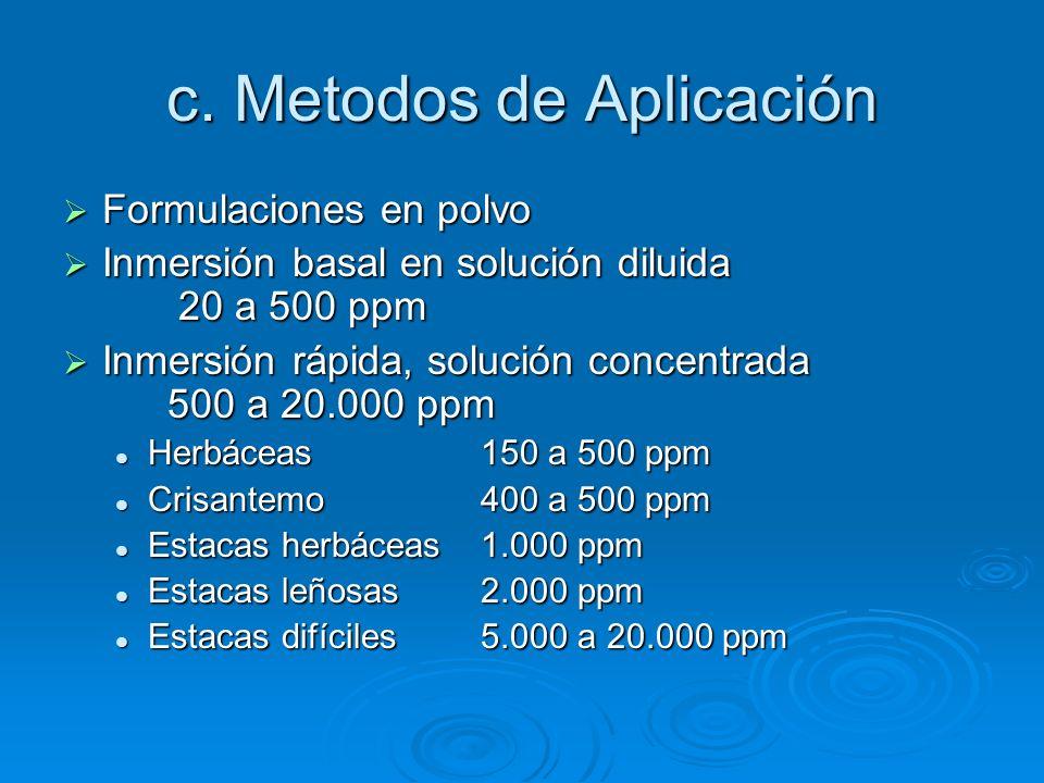 c. Metodos de Aplicación Formulaciones en polvo Formulaciones en polvo Inmersión basal en solución diluida 20 a 500 ppm Inmersión basal en solución di