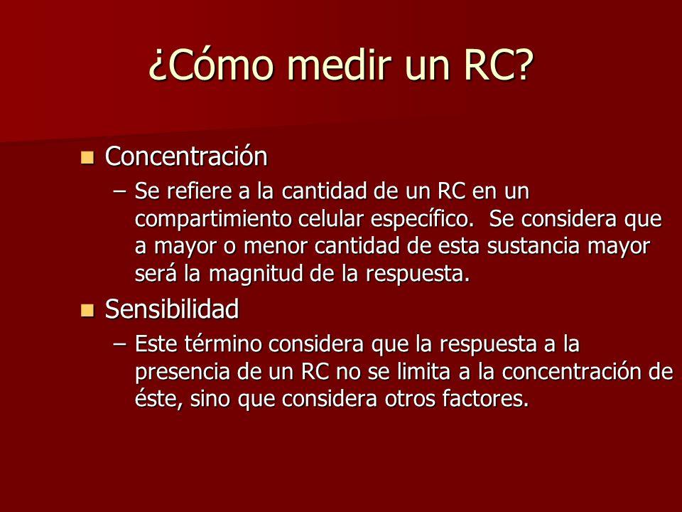 ¿Cómo medir un RC? Concentración Concentración –Se refiere a la cantidad de un RC en un compartimiento celular específico. Se considera que a mayor o