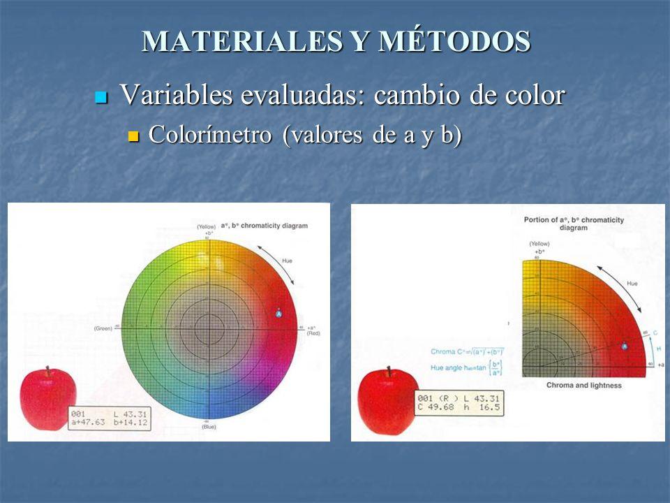 MATERIALES Y MÉTODOS Variables evaluadas: cambio de color Variables evaluadas: cambio de color Colorímetro (valores de a y b) Colorímetro (valores de