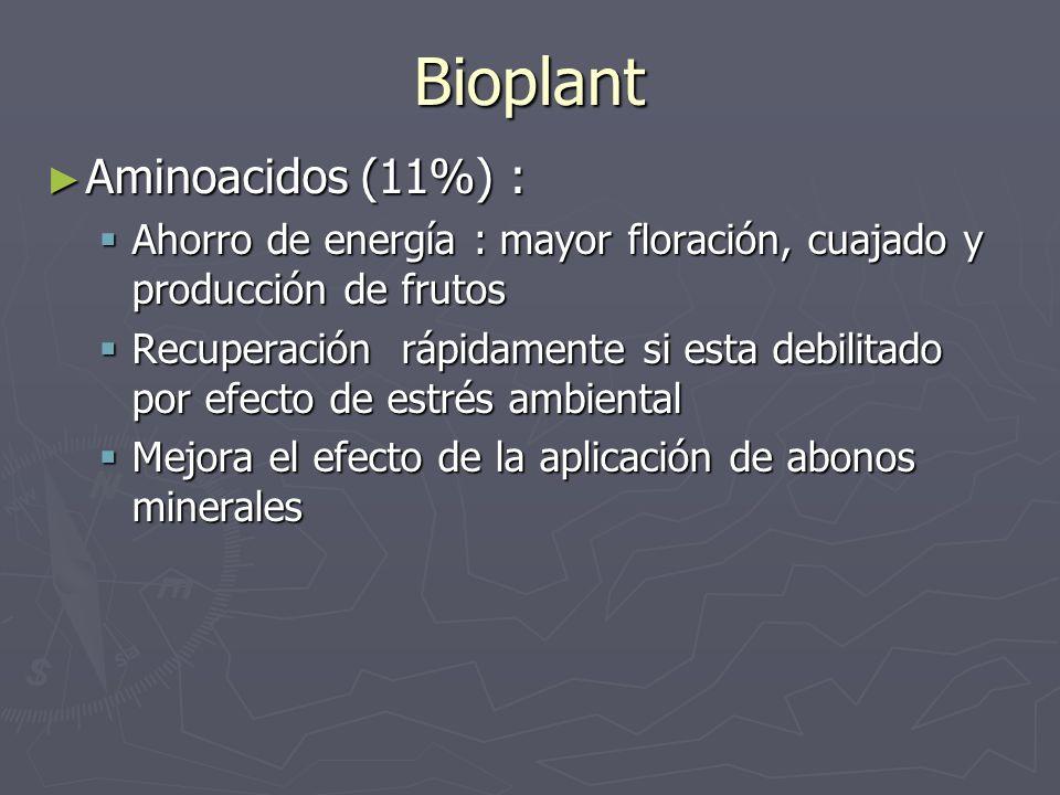 Bioplant Aminoacidos (11%) : Aminoacidos (11%) : Ahorro de energía : mayor floración, cuajado y producción de frutos Ahorro de energía : mayor floraci