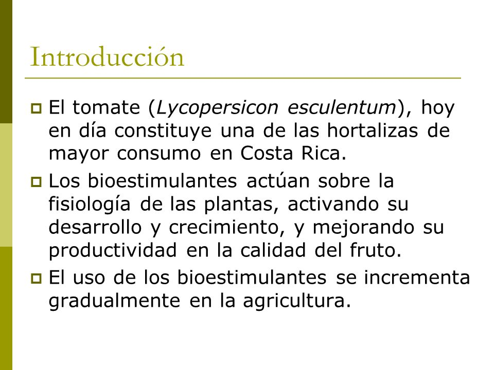 Introducción El tomate (Lycopersicon esculentum), hoy en día constituye una de las hortalizas de mayor consumo en Costa Rica. Los bioestimulantes actú
