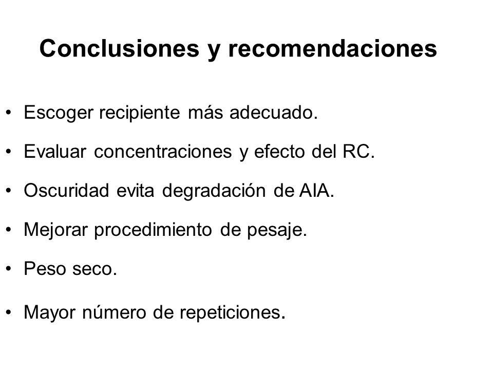 Escoger recipiente más adecuado.Evaluar concentraciones y efecto del RC.