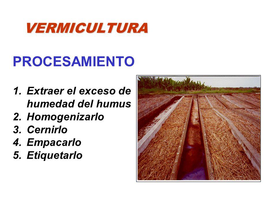 VERMICULTURA PROCESAMIENTO 1.Extraer el exceso de humedad del humus 2.Homogenizarlo 3.Cernirlo 4.Empacarlo 5.Etiquetarlo