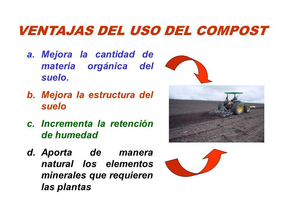 VENTAJAS DEL USO DEL COMPOST a.Mejora la cantidad de materia orgánica del suelo. b.Mejora la estructura del suelo c.Incrementa la retención de humedad