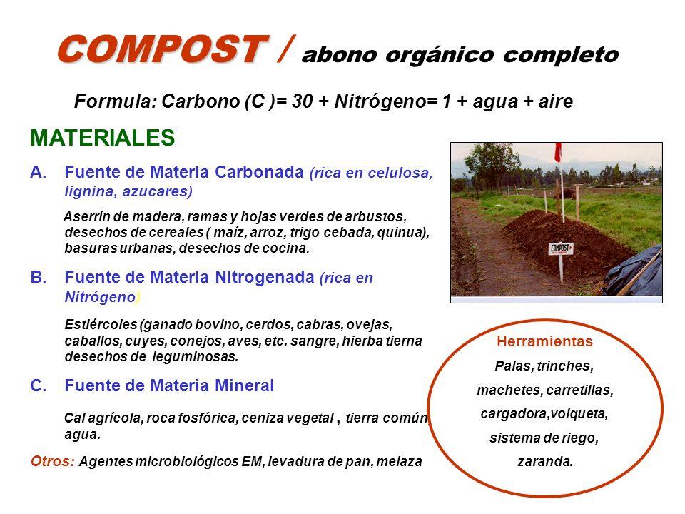 COMPOST COMPOST / abono orgánico completo Formula: Carbono (C )= 30 + Nitrógeno= 1 + agua + aire MATERIALES A.Fuente de Materia Carbonada (rica en cel