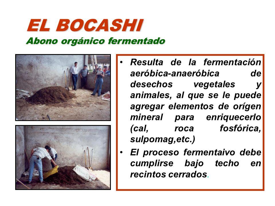 EL BOCASHI Abono orgánico fermentado Resulta de la fermentación aeróbica-anaeróbica de desechos vegetales y animales, al que se le puede agregar eleme