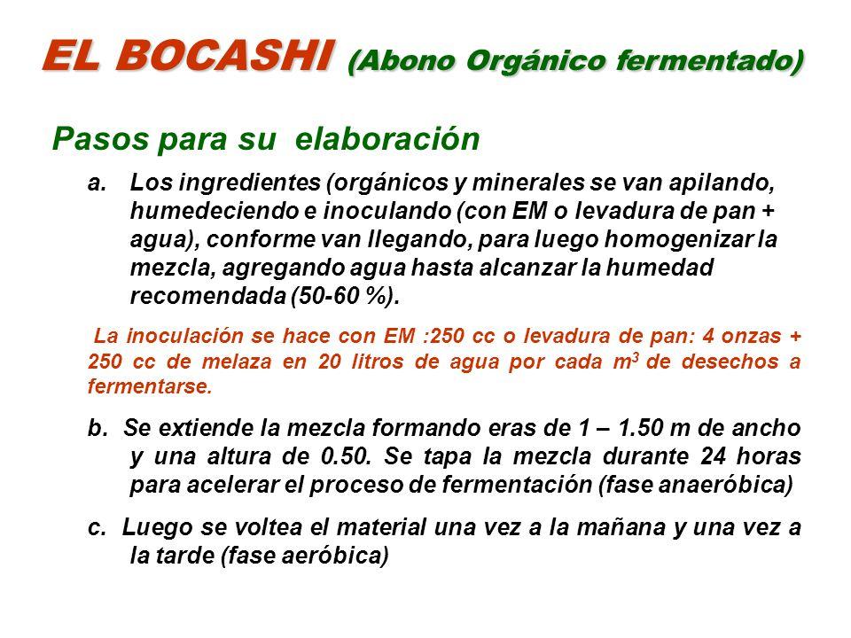 EL BOCASHI (Abono Orgánico fermentado) Pasos para su elaboración a.Los ingredientes (orgánicos y minerales se van apilando, humedeciendo e inoculando