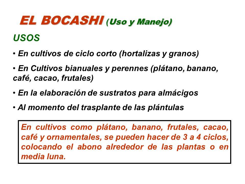 EL BOCASHI ( Uso y Manejo) USOS En cultivos de ciclo corto (hortalizas y granos) En Cultivos bianuales y perennes (plátano, banano, café, cacao, fruta