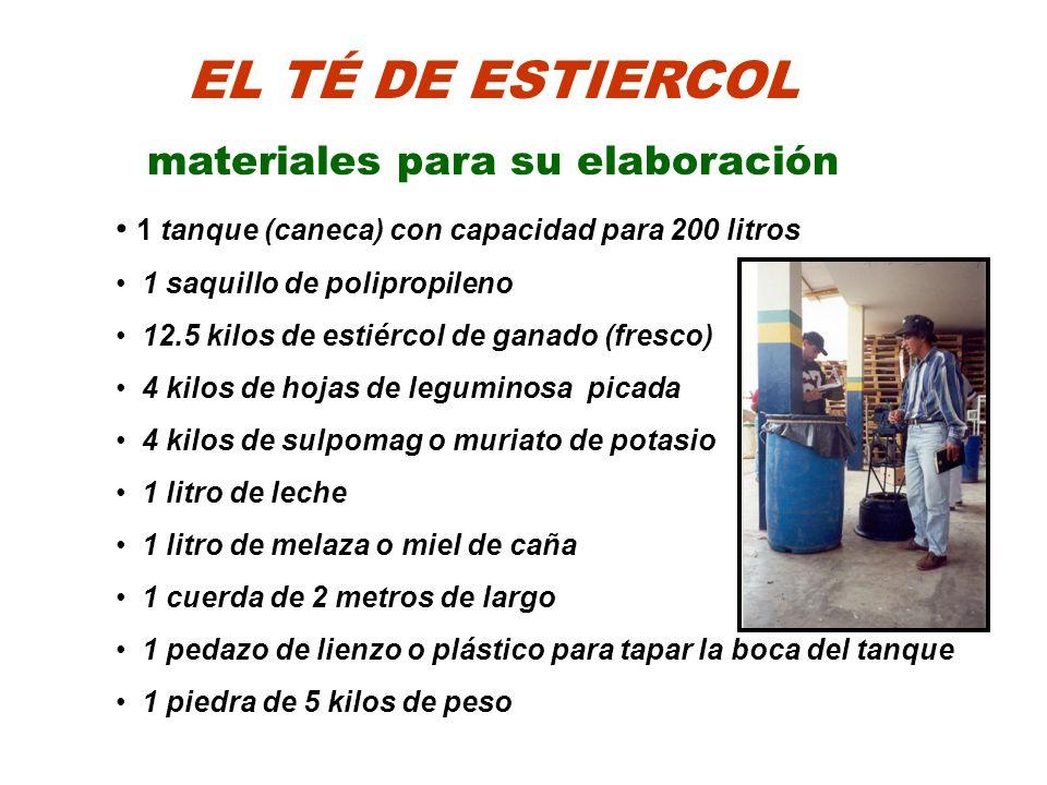 EL TÉ DE ESTIERCOL materiales para su elaboración 1 tanque (caneca) con capacidad para 200 litros 1 saquillo de polipropileno 12.5 kilos de estiércol