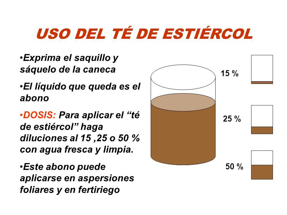 USO DEL TÉ DE ESTIÉRCOL Exprima el saquillo y sáquelo de la caneca El líquido que queda es el abono DOSIS: Para aplicar el té de estiércol haga diluci