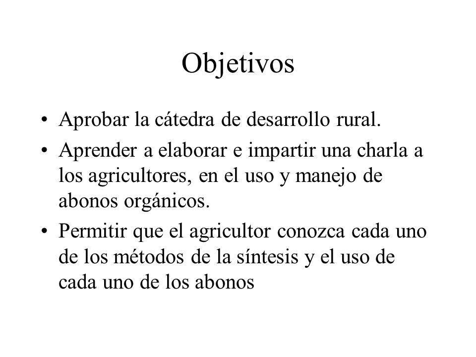 Objetivos Aprobar la cátedra de desarrollo rural. Aprender a elaborar e impartir una charla a los agricultores, en el uso y manejo de abonos orgánicos