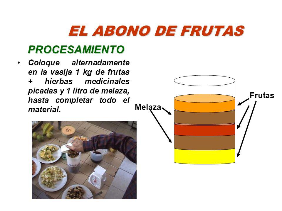 EL ABONO DE FRUTAS PROCESAMIENTO Coloque alternadamente en la vasija 1 kg de frutas + hierbas medicinales picadas y 1 litro de melaza, hasta completar