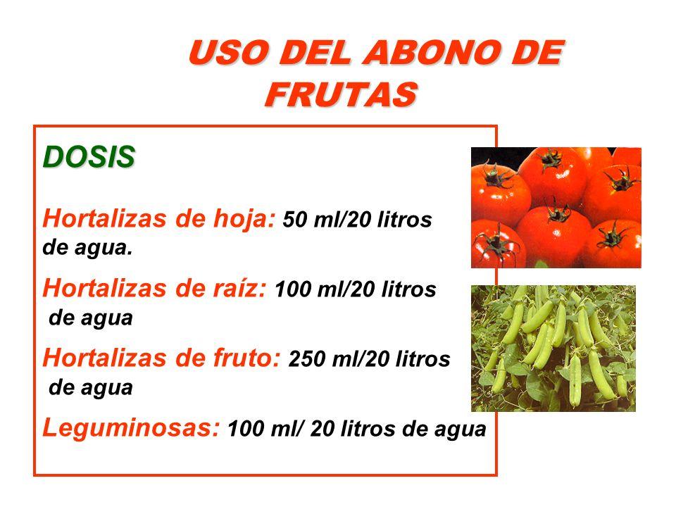 USO DEL ABONO DE FRUTAS DOSIS Hortalizas de hoja: 50 ml/20 litros de agua. Hortalizas de raíz: 100 ml/20 litros de agua Hortalizas de fruto: 250 ml/20