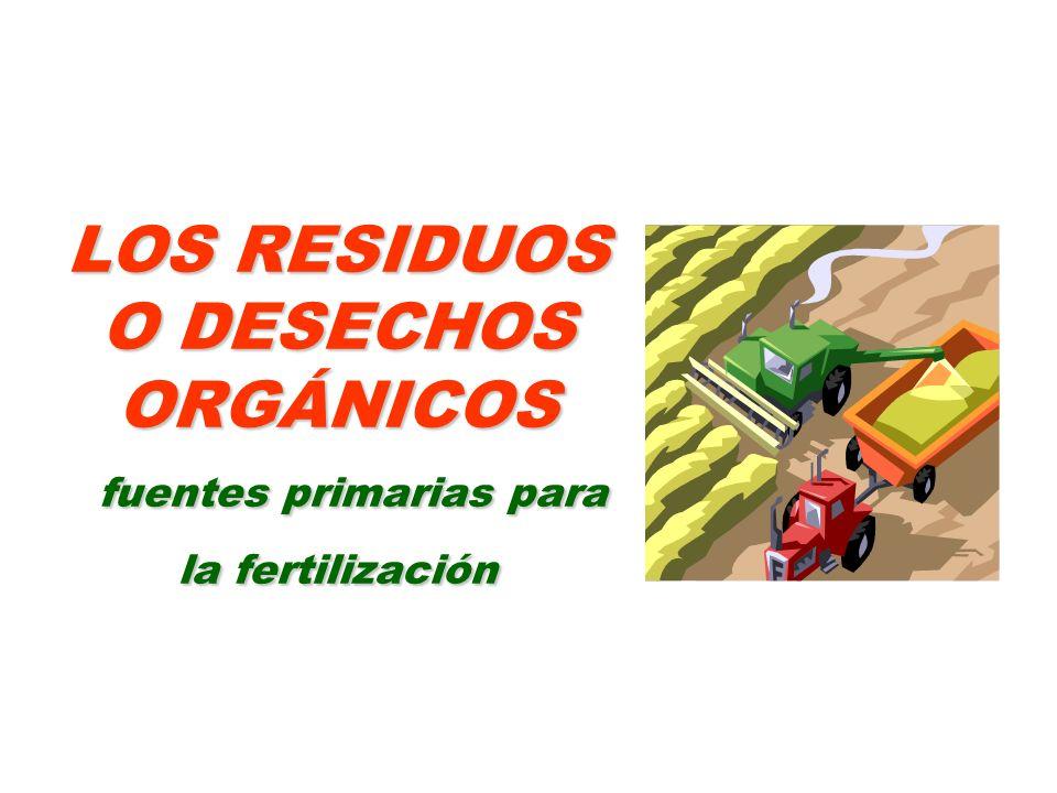 LOS RESIDUOS O DESECHOS ORGÁNICOS fuentes primarias para la fertilización