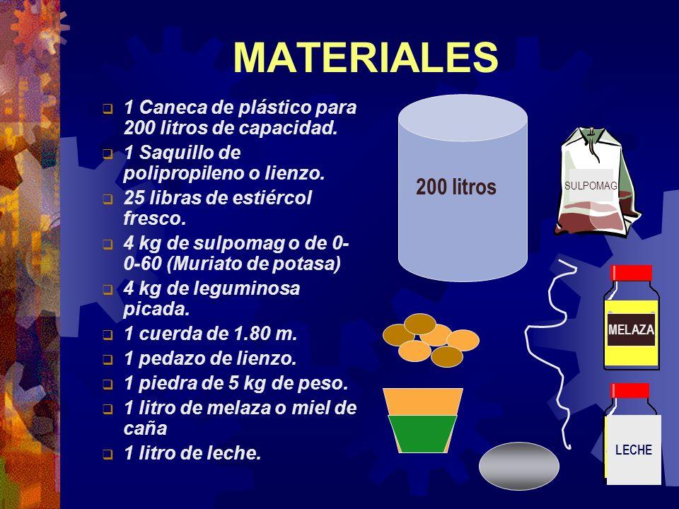 MATERIALES 1 Caneca de plástico para 200 litros de capacidad. 1 Saquillo de polipropileno o lienzo. 25 libras de estiércol fresco. 4 kg de sulpomag o