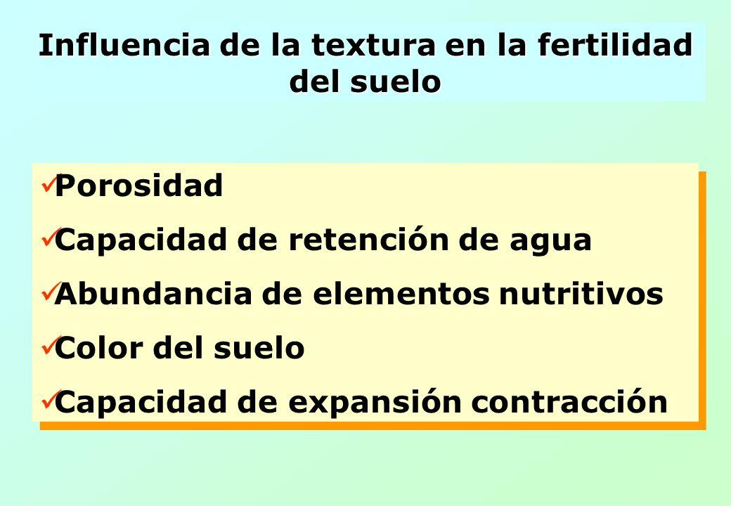 Influencia de la textura en la fertilidad del suelo Porosidad Capacidad de retención de agua Abundancia de elementos nutritivos Color del suelo Capaci