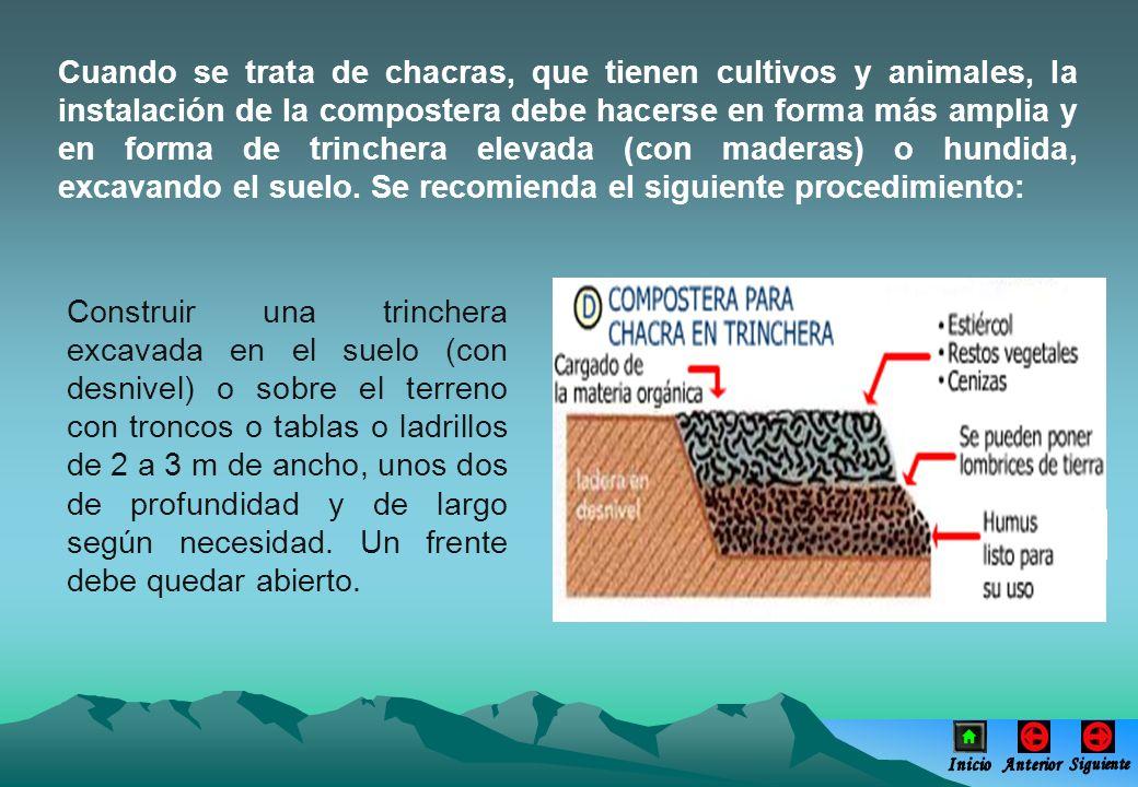 Cuando se trata de chacras, que tienen cultivos y animales, la instalación de la compostera debe hacerse en forma más amplia y en forma de trinchera e