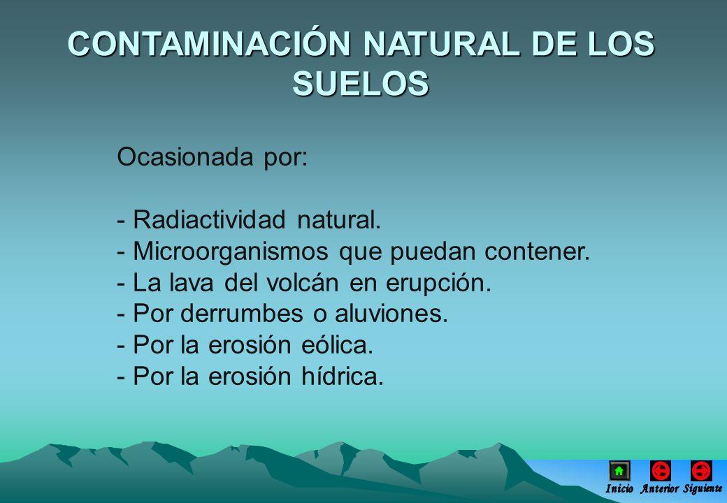 CONTAMINACIÓN NATURAL DE LOS SUELOS Ocasionada por: - Radiactividad natural. - Microorganismos que puedan contener. - La lava del volcán en erupción.