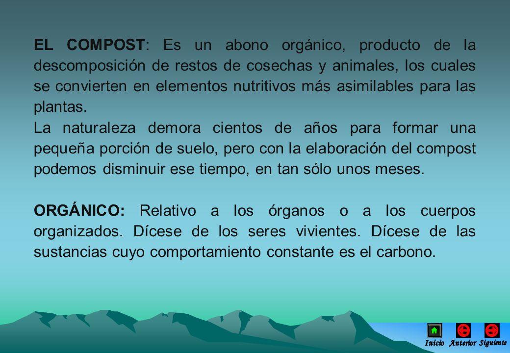 EL COMPOST: Es un abono orgánico, producto de la descomposición de restos de cosechas y animales, los cuales se convierten en elementos nutritivos más