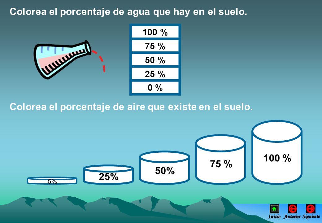 Colorea el porcentaje de agua que hay en el suelo. 100 % 75 % 50 % 25 % 0 % Colorea el porcentaje de aire que existe en el suelo. 100 % 75 % 50% 25% 5