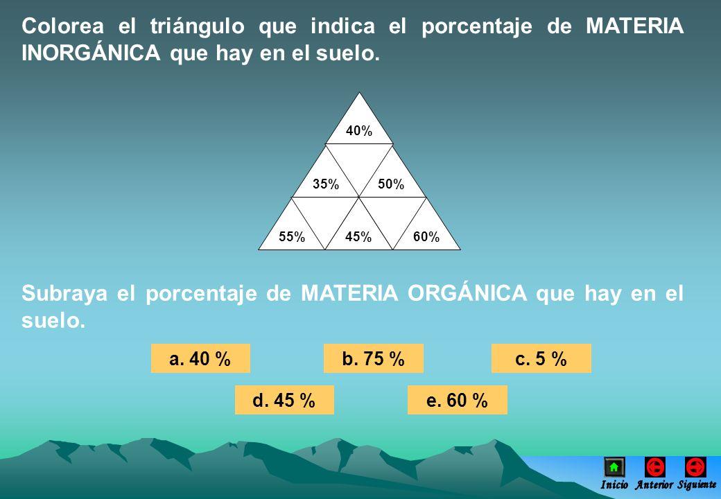 Subraya el porcentaje de MATERIA ORGÁNICA que hay en el suelo. a. 40 %b. 75 %c. 5 % d. 45 %e. 60 % Colorea el triángulo que indica el porcentaje de MA
