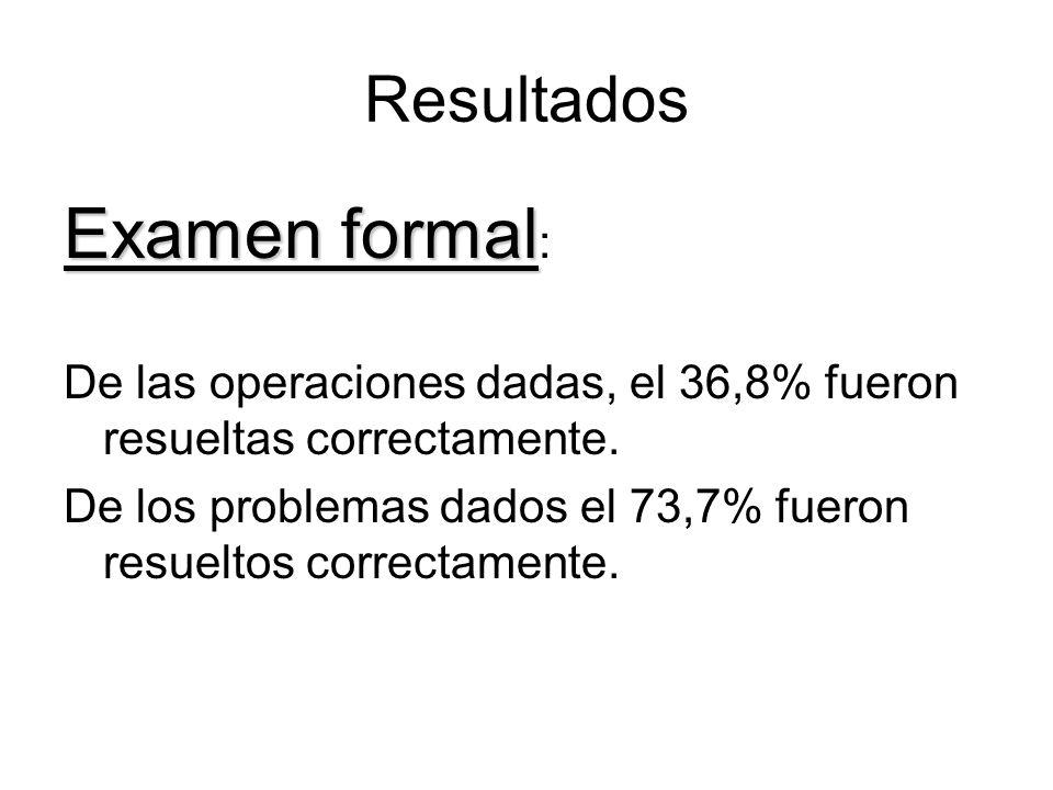 Resultados Examen formal Examen formal : De las operaciones dadas, el 36,8% fueron resueltas correctamente.