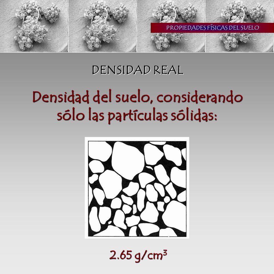 PROPIEDADES FÍSICAS DEL SUELO DENSIDAD REAL Densidad del suelo, considerando sólo las partículas sólidas: 2.65 g/cm 3