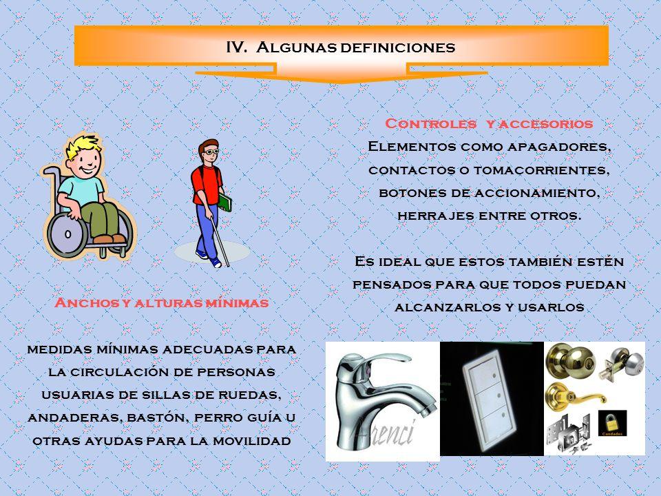 IV. Algunas definiciones Anchos y alturas mínimas medidas mínimas adecuadas para la circulación de personas usuarias de sillas de ruedas, andaderas, b