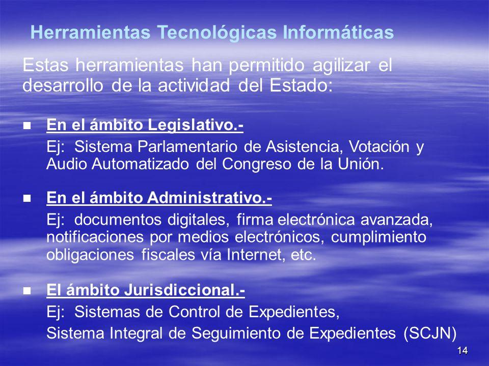 14 Estas herramientas han permitido agilizar el desarrollo de la actividad del Estado: En el ámbito Legislativo.- Ej: Sistema Parlamentario de Asistencia, Votación y Audio Automatizado del Congreso de la Unión.