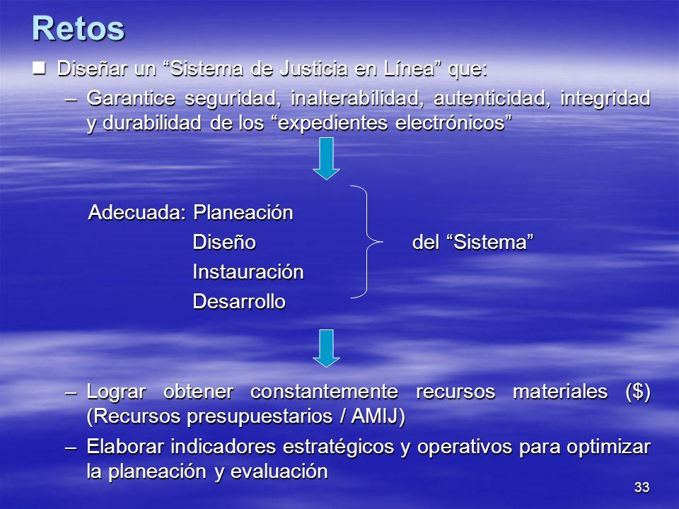 33 Diseñar un Sistema de Justicia en Línea que: Diseñar un Sistema de Justicia en Línea que: –Garantice seguridad, inalterabilidad, autenticidad, integridad y durabilidad de los expedientes electrónicos Adecuada: Planeación Adecuada: Planeación Diseño del Sistema Diseño del Sistema Instauración Instauración Desarrollo Desarrollo –Lograr obtener constantemente recursos materiales ($) (Recursos presupuestarios / AMIJ) –Elaborar indicadores estratégicos y operativos para optimizar la planeación y evaluación Retos
