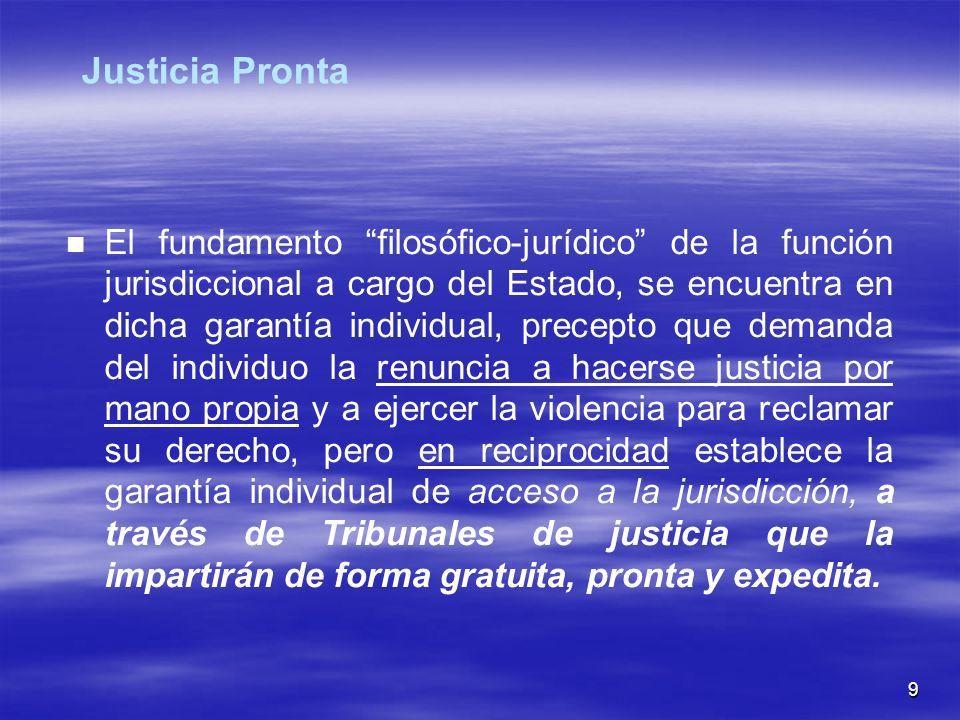 9 El fundamento filosófico-jurídico de la función jurisdiccional a cargo del Estado, se encuentra en dicha garantía individual, precepto que demanda d