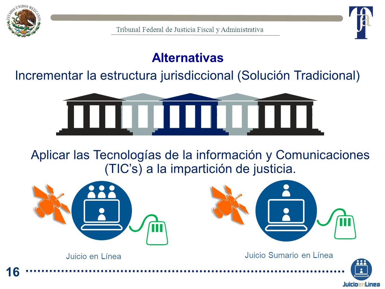 Alternativas Incrementar la estructura jurisdiccional (Solución Tradicional) Aplicar las Tecnologías de la información y Comunicaciones (TICs) a la im