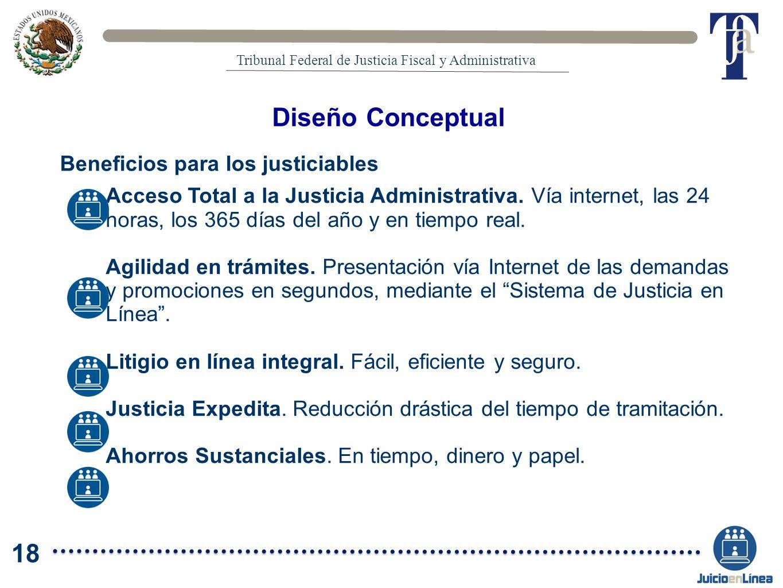 Acceso Total a la Justicia Administrativa. Vía internet, las 24 horas, los 365 días del año y en tiempo real. Agilidad en trámites. Presentación vía I
