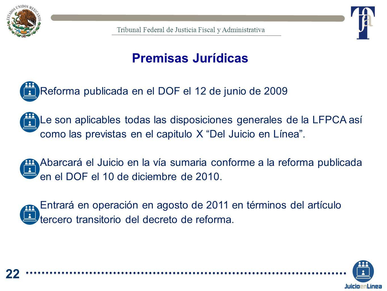 Premisas Jurídicas Reforma publicada en el DOF el 12 de junio de 2009 Le son aplicables todas las disposiciones generales de la LFPCA así como las pre