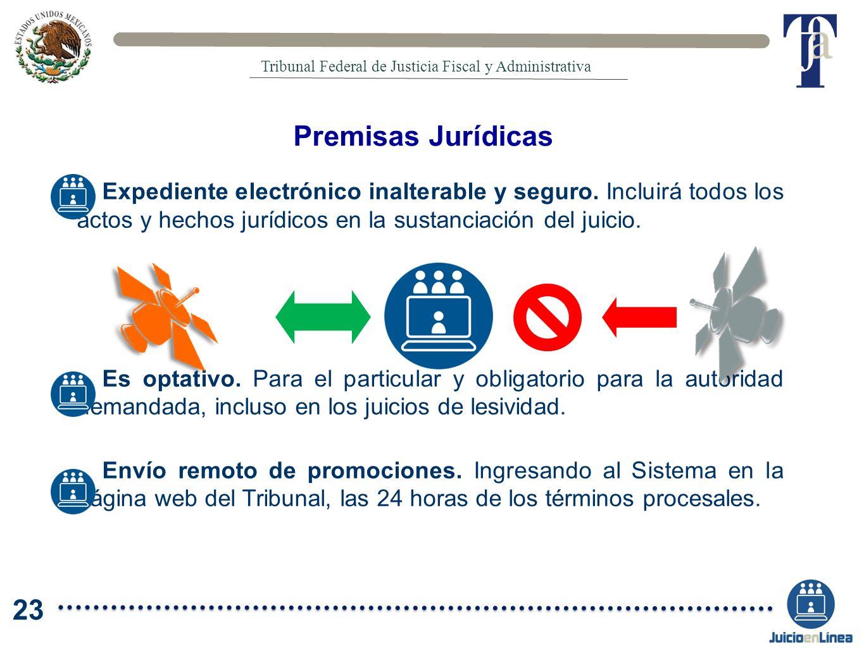 Expediente electrónico inalterable y seguro. Incluirá todos los actos y hechos jurídicos en la sustanciación del juicio. Es optativo. Para el particul
