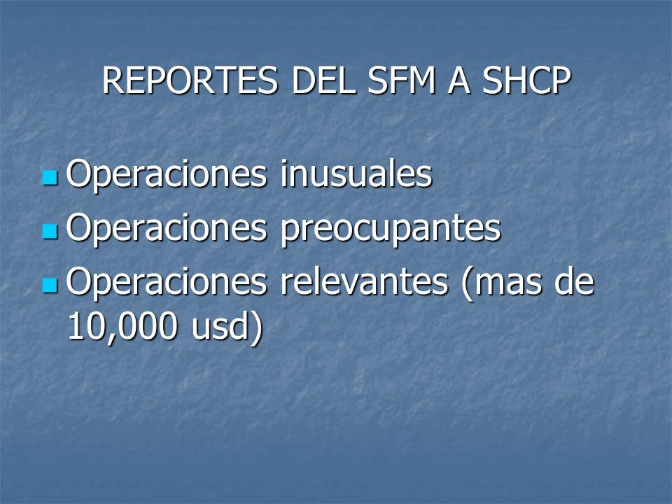 REPORTES DEL SFM A SHCP Operaciones inusuales Operaciones inusuales Operaciones preocupantes Operaciones preocupantes Operaciones relevantes (mas de 1