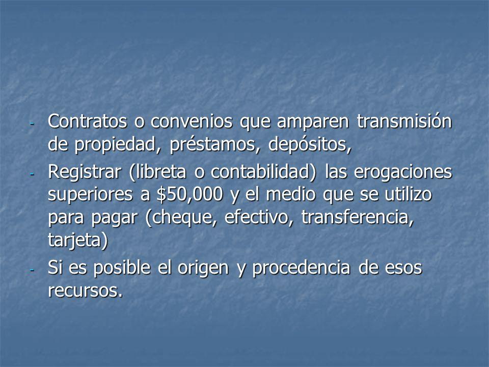 - Contratos o convenios que amparen transmisión de propiedad, préstamos, depósitos, - Registrar (libreta o contabilidad) las erogaciones superiores a
