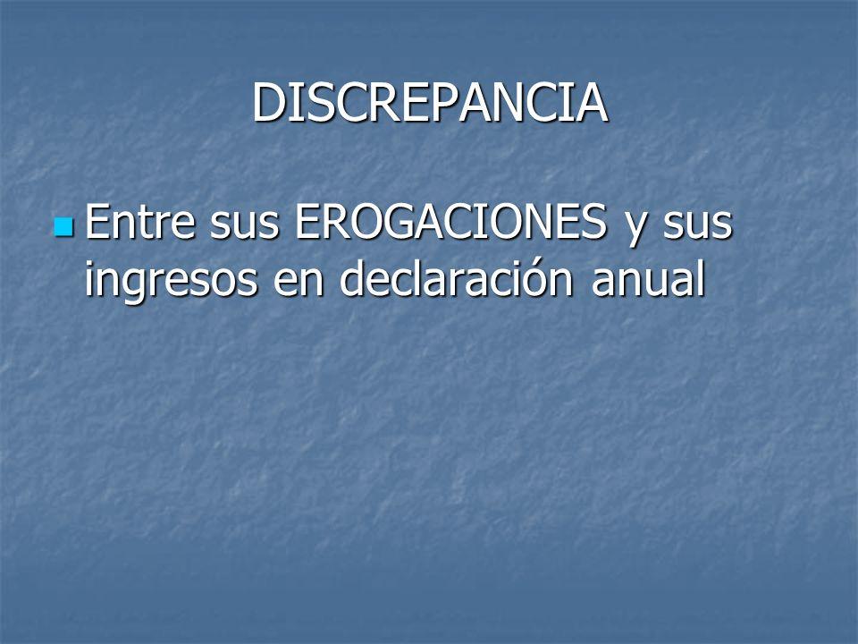 DISCREPANCIA Entre sus EROGACIONES y sus ingresos en declaración anual Entre sus EROGACIONES y sus ingresos en declaración anual